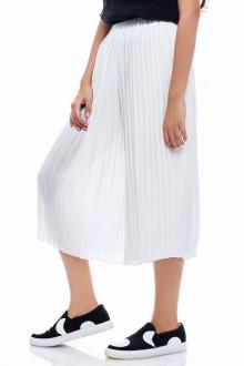 White Long Basic Pleats Pants