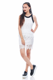 White Leaf Lace Pencil Skirt