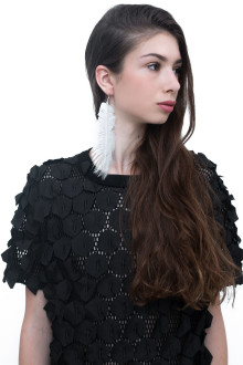 White Long Feather Earring