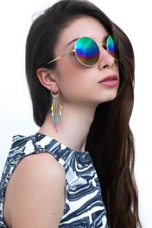 Gold Multicolor Tear Drops Earrings