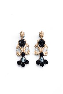 Baroque Black Rose Earrings