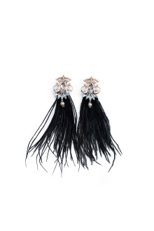 Black Crystal Flower Feather Earrings