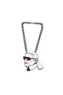 Black KARL Head Chain Necklace