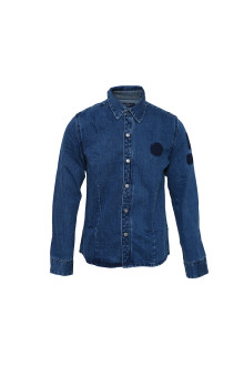 Blue Metal Button Denim Shirt