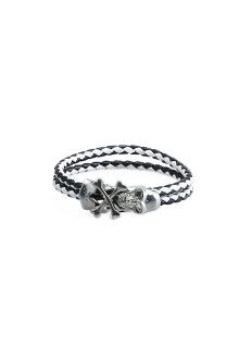 Black White Double Tour Skull Bracelet