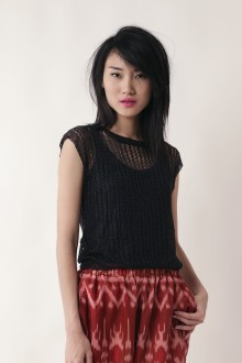 Black Yarn Knit Top