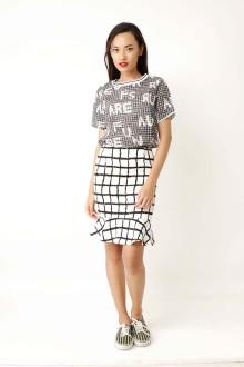 White Graphic Mermaid Skirt