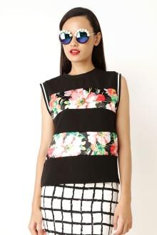 Black Sleeveless Flower Stripe Top