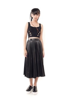 Faux Leather Long Pleats Skirt