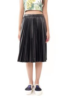 Faux Leather Knee Length Pleats Skirt