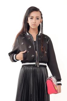 Black Embroidery Neoprene Bomber Jacket