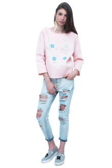 Pink Neoprene Flower embroidery Top