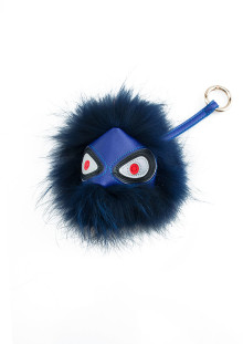Blue Monster Fox Fur Keychain