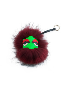 Red Monster Fox Fur Keychain