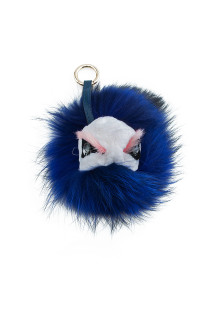 Blue Monster Fox Fur Beads Keychain