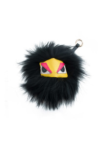 Black Monster Fox Fur Keychain