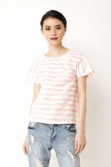 Peach Stripe Lace Top
