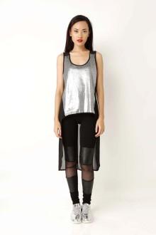 Silver Sequin Asymmetric Dress