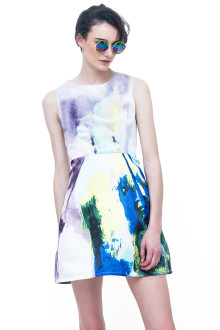 Grey Paint Me Abstract Dress