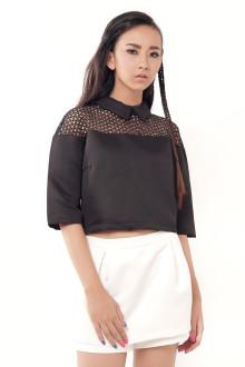 Black Crochet Shoulder Top