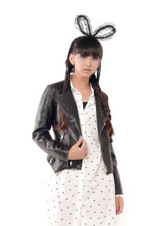 Black Leather Studs Motto Jacket