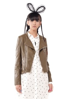 Green Leather Studs Motto Jacket