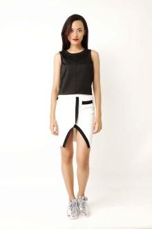 White Knit Slit Skirt