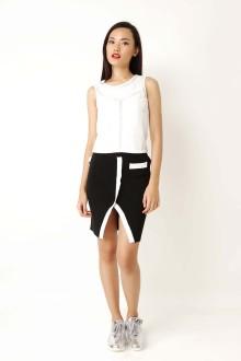 Black Knit Slit Skirt