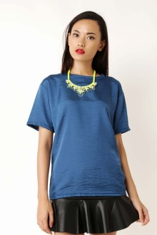 Blue Sateen Washed Top