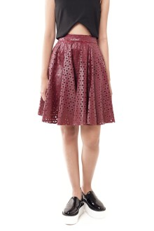 Red Faux Leather Triangle Lasercut Flare Skirt