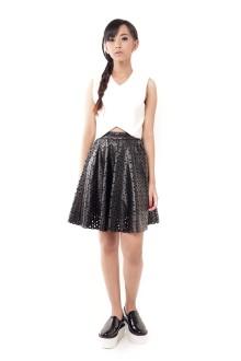 Black Faux Leather Triangle Lasercut Flare Skirt
