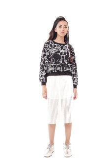 Black Face Graphic Top