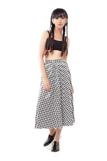 Faux Leather Houndstood Long Skirt