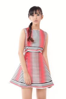 Red Optic Stripe Dress