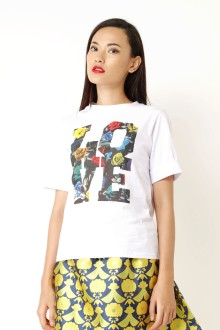 White Love Flower Graphic Tees