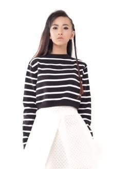 Black Knit Stripe Crop Top