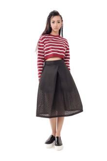 Black Hexagon Pattern A-line Skirt