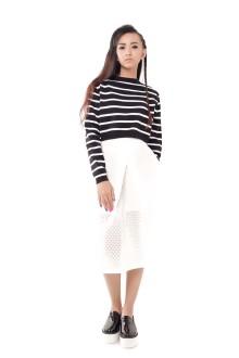 White Hexagon Pattern A-line Skirt