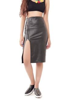 Faux Leather Side Slit Zipper Skirt