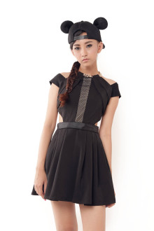 Black Gold Chain Halter Dress