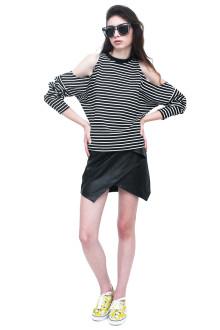 Black Origami Leather Skirt
