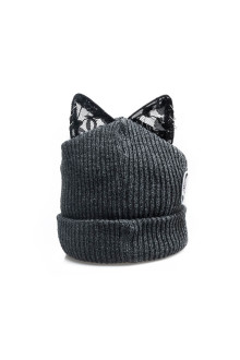 Grey Punk Cat Beanie