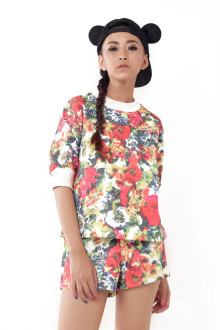 Red Tropical Floral Top and Short Set
