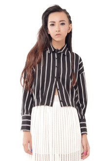 Black Stripe Crop Shirt