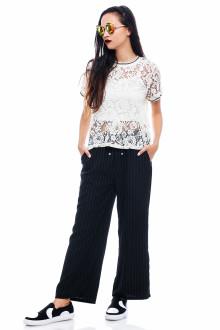 Black Pin Stripe Drawstring Pants
