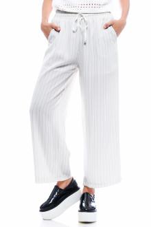 White Pin Stripe Drawstring Pants