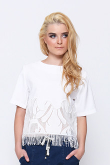 White Asymetric Lace Fringe Top