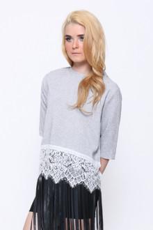 Grey Tweed Lace Top