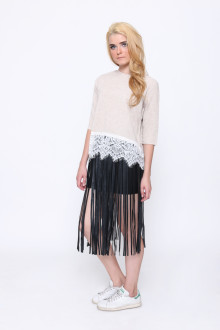 Beige Tweed Lace Top