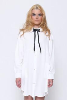 White Metal Button Big Pocket Shirt